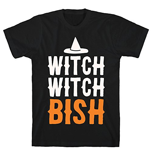 LookHUMAN Witch Witch Bish Parody White Print 2X Black Men's Cotton Tee