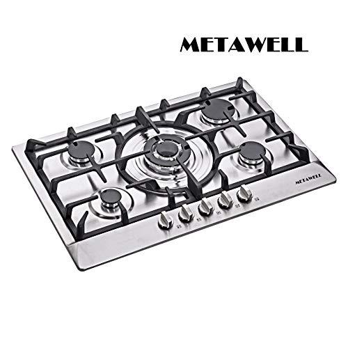 Brand METAWELL 30″ Stainless Steel 5 Burners Gas Cooktops NG/LPG Built-In Stoves