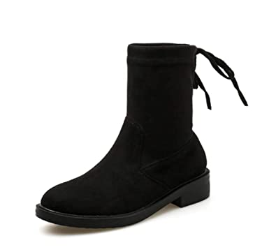 abedb145b Women Fashion Martin Boots 2018 Autumn New Simple Rear Lace Up Boots Black  (Color :