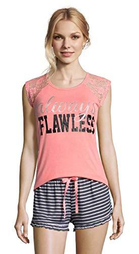 Sleep & Co. Womens 2 Piece Cap Sleeve Shirt Elastic Waist Shorts Pajama Sleep Set Neon Coral ()