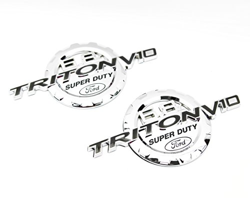 2 NEW CUSTOM CHROME FORD 6.8L TRITON V10 SUPER DUTY F250 F350 F450 F550 BADGES EMBLEMS SET PAIR