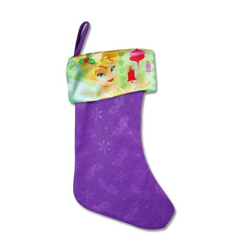 Disney Tinkerbell Purple 18'' Felt Christmas Stocking with Printed Satin Cuff