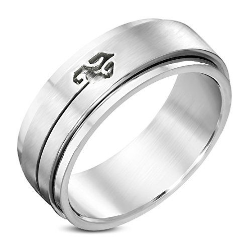 Stainless Steel Cut-out Spiral Dragon Spinning Flat Band Ring
