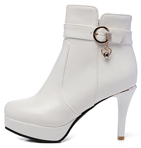 Zipper Toe Pendant Booties High Round With SHOWHOW Waterproof Women's White Ankle Heel qvawvFRx