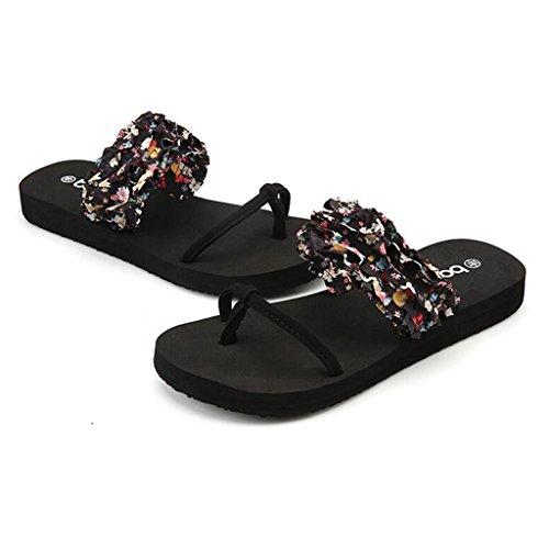 Noir Femme Plates Pantoufles Sandales De Chaussures De Mode Tissu Fleur Antidérapant Plage Été Chaussures qwOgII5