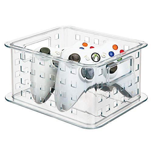 mDesign Plastic Stackable Household Storage Organizer Container Bin with Handles - for Media Consoles, Closets, Cabinets - Holds DVD's, Blu Ray, Video Games, Gaming Accessories - Clear
