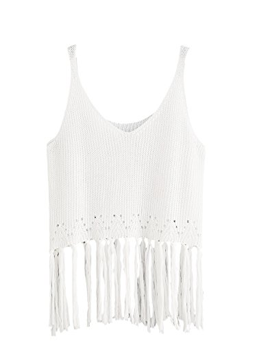 Romwe Women's Cami Fringe Trim Knit Tank Top White One-Size (Fringe Cami)