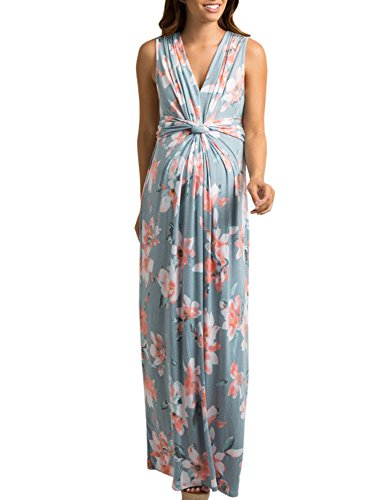 Ivay Women's Ruched Maternity Maxi Dress with Twist Knot Dark Grey