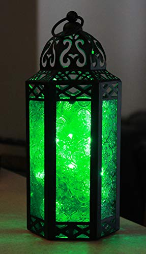 Vela Lanterns Moroccan Style Candle Lantern with LED Lights, Medium, Green Glass (Lantern Glass Green)