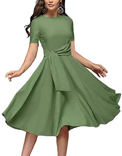 Women's Elegance Audrey Hepburn Style Ruched Dresses Round Neck 3/4 Short Sleeve Pleated Swing Midi A-line Dress with Pockets(Light Green Short, Large)