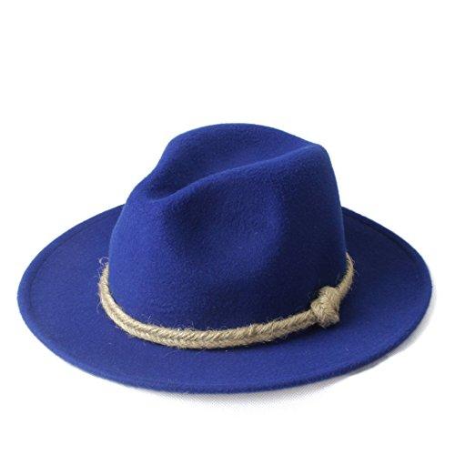 Ruiyue Women Men Winter Fedora Hat with Hemp Rope for Elegant Lady (Color : 2, Size : 57-58CM)