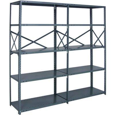 Quantum Heavy-Duty 18-Gauge Industrial Steel Shelving - 6 Shelves, 48in.W x 24in.D x 99in.H, Model# 18G-99-2448-6