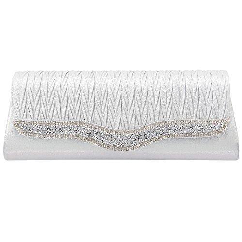 Novias Boutique - Cartera de mano para mujer champán plata