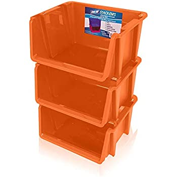 Stor-All Solutions Baskets Stackable Home Storage Bin, Large, Orange, 3 Piece