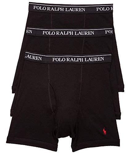 Polo Ralph Lauren Classic Fit Boxer Briefs with Moisture Wicking, 100% Cotton - 3 Pack (M, 3Black)