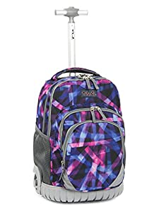 Tilami New Antifouling Design 18 Inch Oversized Load Multi-Compartment Wheeled Rolling Backpack Luggage for Kids (Abstract Pattern 1)