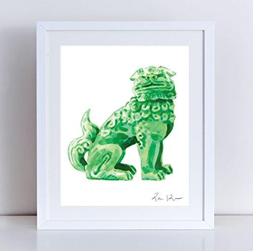 Green Foo Dog Art Foo Dog Painting Foo Dog Print Chinoiserie Foo Dog Hollywood Regency Decor Asian Decor Chinese Wall Art Green Jade Decor Canvas Art Print Watercolor (Jade Bookends)
