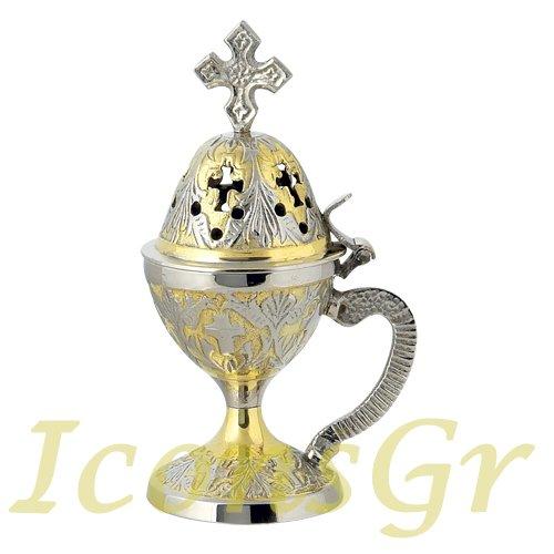 Christian Byzantine Orthodox Greek Censer Incense Burner Liturgy (78-gn)
