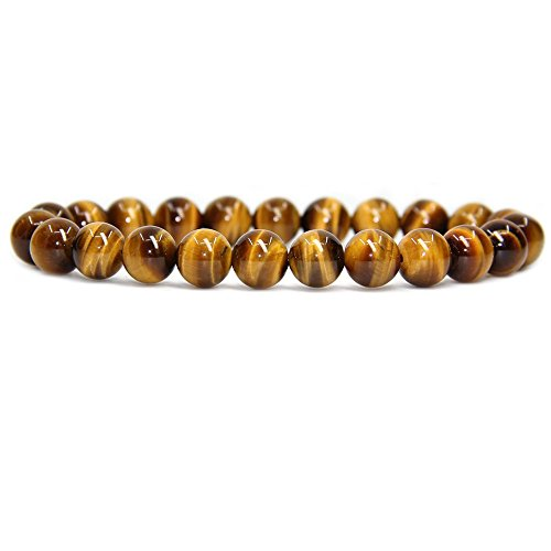 Natural AA Grade Golden Tiger Eye Gemstone 8mm Round Beads Stretch Bracelet 7