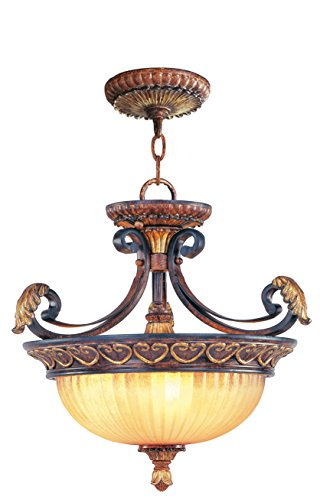 Pendants Porch 3 Light with Rustic Art Glass Verona Bronze with Aged Gold Leaf Accents Size 17 in 180 Watts - World of Crystal ()