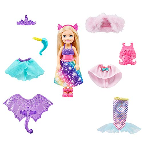 Barbie Dreamtopia Chelsea Doll and Dress-Up Set with 12 Fashion Pieces Themed to Princess, Mermaid, Unicorn and Dragon, Gift for 3 to 7 Year Olds