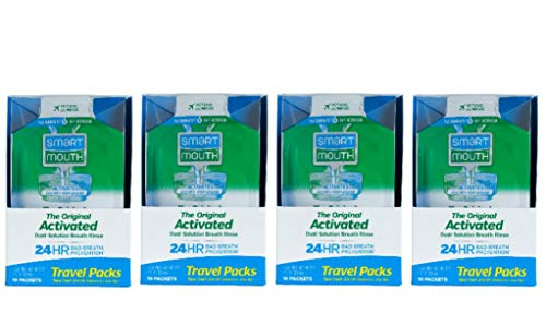 SmartMouth Mouthwash Travel Packets for 24 Hours of Fresh Breath Guaranteed, 4 Boxes, 10 packs - Travel Rinse