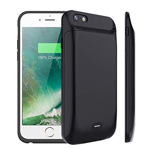 iPhone 6/6s Battery Case, FNSON 5000mAh Portable Charger Case Rechargeable Extended Battery Pack Protective Backup Charging Case Cover for Apple iPhone 6s/6 (4.7 inch)-Black (Iphone Backup)