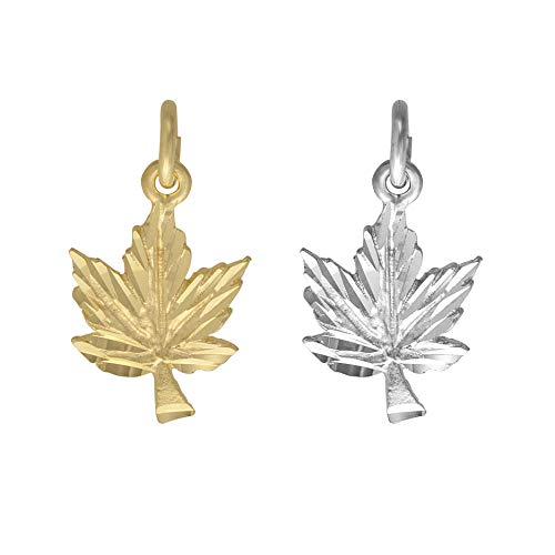 Diamond Cut Maple Leaf Charm - 10K Yellow Gold or Sterling Silver