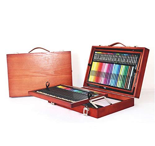 (178 Pcs Art Wooden Box Set Wooden Children Colored Pencil Oil Pastel Watercolor Pan Paints Crayons Drawing Artist Kit)