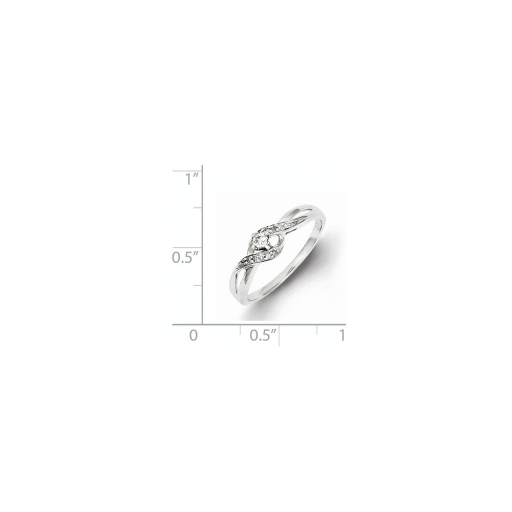 925 Sterling Silver Diamond Solitaire Promise Ring for Women Size 8 (0.12ct, H-SI2)