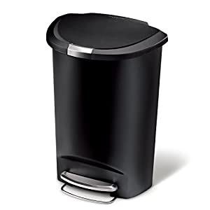 Amazon Com Simplehuman Semi Round Step Trash Can Black