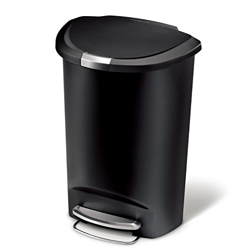 simplehuman 50 Liter / 13 Gallon Semi-Round Kitchen Step Trash Can, Black...