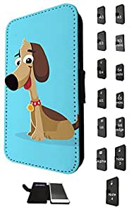 1142 - Cute Fun Dog Animal Drawing Blue Design Samsung Galaxy A5 Fashion Trend TPU Leather Flip Case Full Case Flip Credit Card TPU Leather Purse Pouch Defender Stand Cover