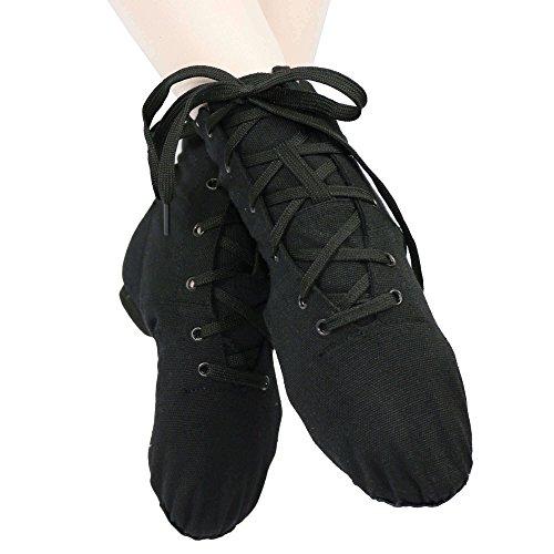 Danzcue Damen Canvas Lace up Jazz Boot Schuhe Schwarz