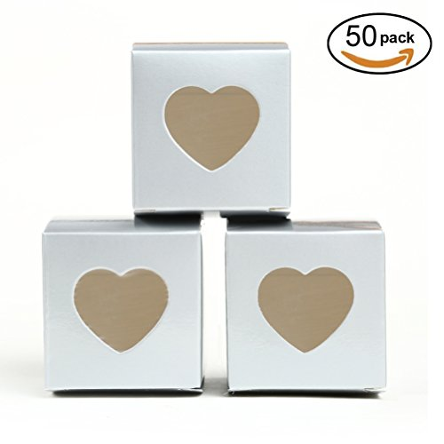 Silver Gift Boxes 2x2x2 inch with Clear Plastic Window for Candy Treat Gift Wrap Box Party Favor 50pc by - Favors Party Xmas Diy