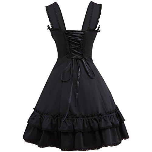 Schwarz aermel Piece Womens Partiss Schwarz Lolita Classic Kleid One ZtxECwqnA
