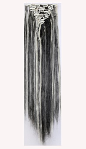 [26 Inches(66cm) 8pcs Long Full Head Clip in Hair Extensions Extension Sexy Lady Fashion Choice Straight natural black & bleach] (Sexy Glamour Wig In Auburn)