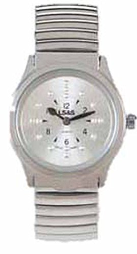 Mens Braille Watch - LS&S Braille Watch - Silver Face - Silver Expansion Band - Men's