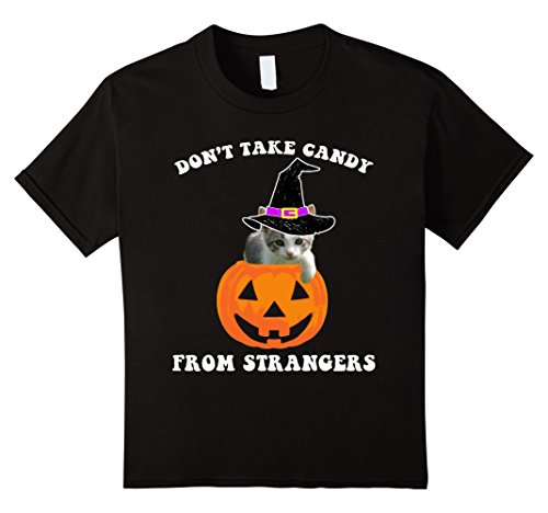 Kids Don't Take Candy From Strangers Halloween Cat Pumpkin Tee 12 (Halloween Candy From Strangers)