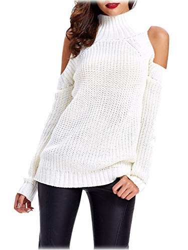 Choies Women's White High Neck Cold Shoulder Long Sleeve Sweater Pullover M