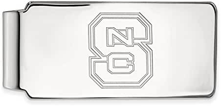 10k White Gold LogoArt Official Licensed Collegiate North Carolina State University (NCSU) Money Clip