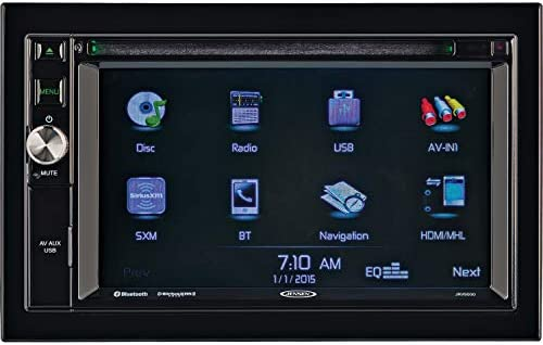 Jensen JRV9000R Touchscreen Multimedia Navigation System, Electronic AM FM Tuner with RBDS, DVD CD MP3 WMA Playback, Built-in Bluetooth with External Microphone, Built-in GPS navigation and Mapping