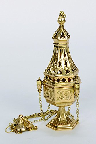 Polished Solid Brass Traditional Religious Church Thurible, Censer with Liner (Religious Chalice Co.)