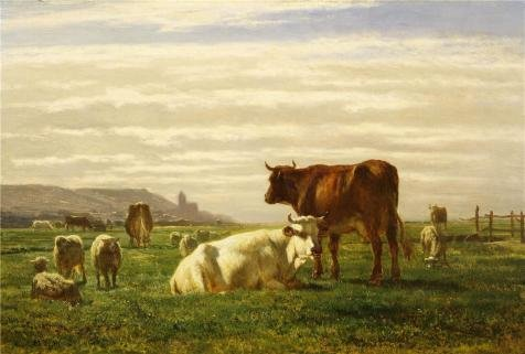 The Perfect Effect Canvas Of Oil Painting 'Constant Troyon - A Pasture (Normandy Bar Knobs)