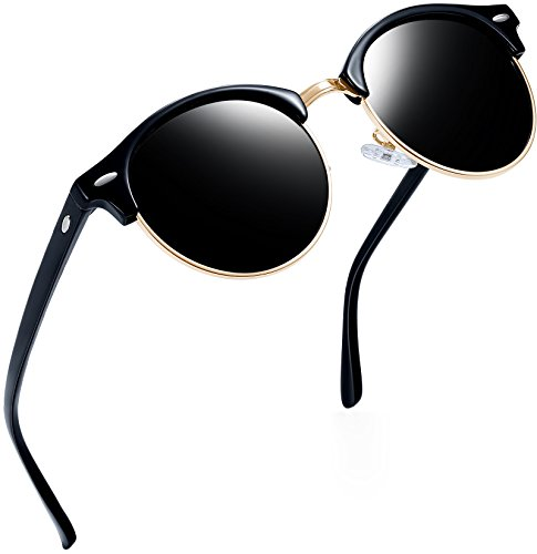 Joopin+Semi+Rimless+Polarized+Sunglasses+Women+Men+Retro+Brand+Sun+Glasses+%28Shiny+Black%2C+as+the+pictures%29