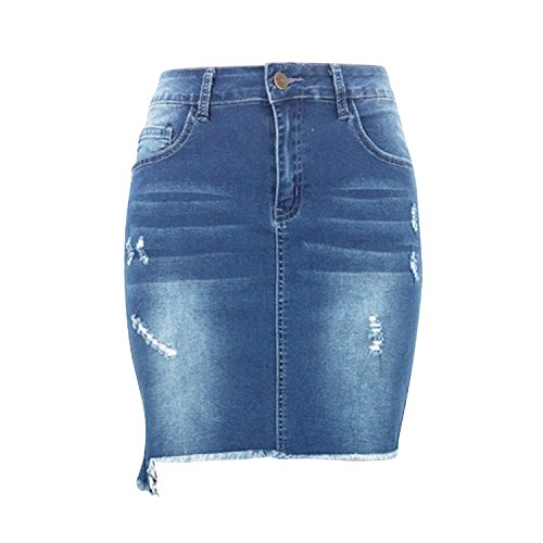 Lisli Fille Femme Jeans Fit Jean Haute Bleu Half Dechir Paquet Jupe Mini Taille Jupe Denim Hanche Skirt Et Slim rqrAadXw