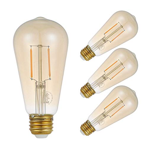 GMY LED Edison Light Bulb E26 3W Equivalent to 20W 120V Dimmable 2200K Warm White Vintage LED Filament Bulb Amber Pack of 4