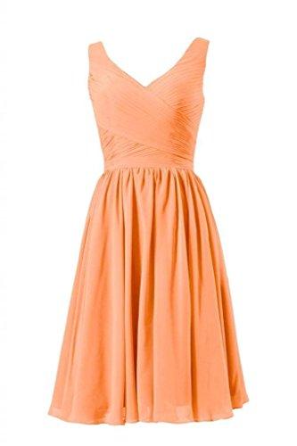 Daisyformals Courte Robe De Soirée Robe Profonde Demoiselle D'honneur Encolure En V Avec / Sangles (bm5196s) # 22 Orange