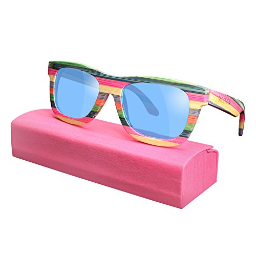 Bamboo Sunglasses Polarized Women Lightweight Colorful Wood Sunglasses that Floating Outdoor Travel