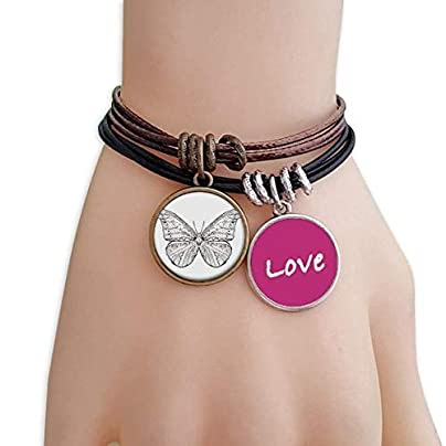 FerryLife Beautiful Butterfly Animal Portrait Sketch Love Bracelet Leather Rope Wristband Couple Set Estimated Price £9.99 -